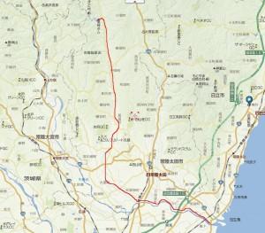 yahoo地図の赤線が道のり